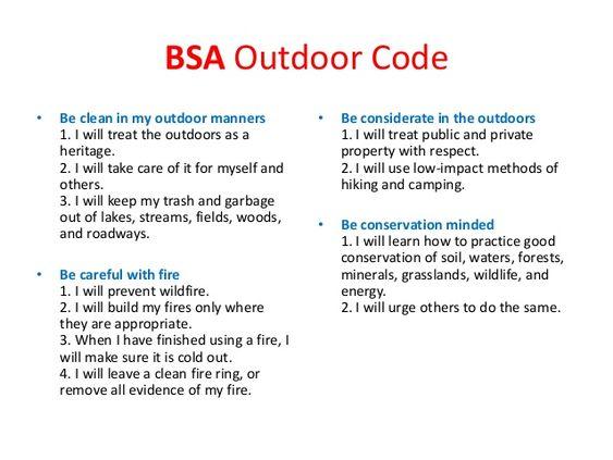 outdoor code bsa