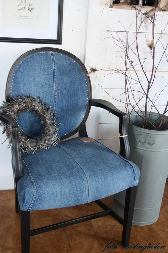 Reupholstered with old blue jeans The pocket is on the