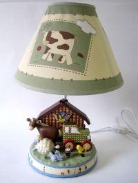 Baby Nursery or Toddler Bedroom Bedside Lamp & Shade Farm ...