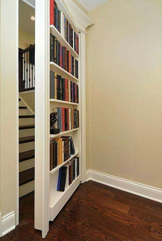Make it deep enough to hold paperbacks and add a guardrail to hold them in place as the door swings.: