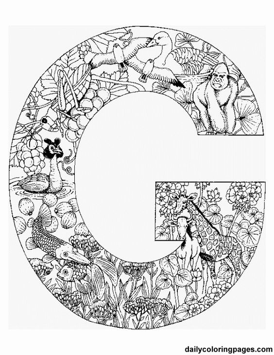 free printable coloring pages--letters that are filled
