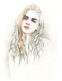 Loving the way the hair is depicted in this #watercolor ...