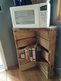 Pallet microwave stand and cookbook shelf or possibly use ...