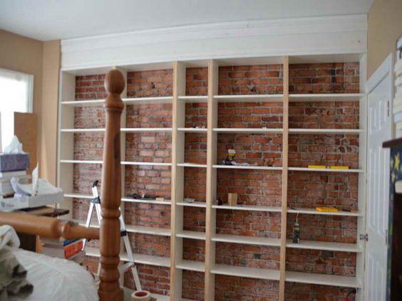 Cabinet & Shelving:Diy Built In Shelves Brick Wall Design