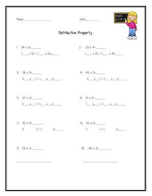 Distributive Property Worksheets 5Th Grade Free Worksheets