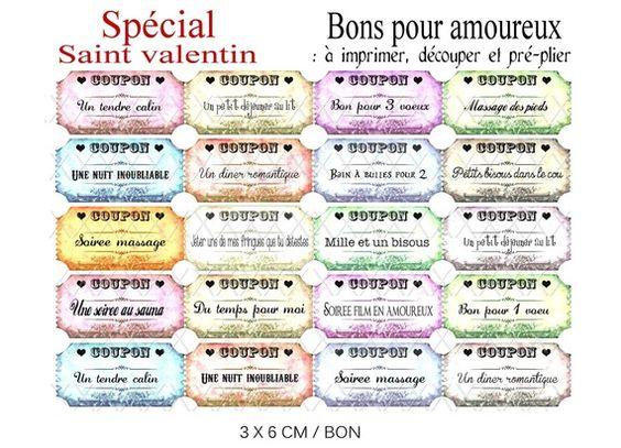 20 Bons Pour Saint Valentin A Imprimer Pinterest Saints