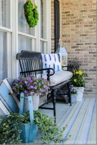 Front porch bench, Porch bench and Feather pillows on ...