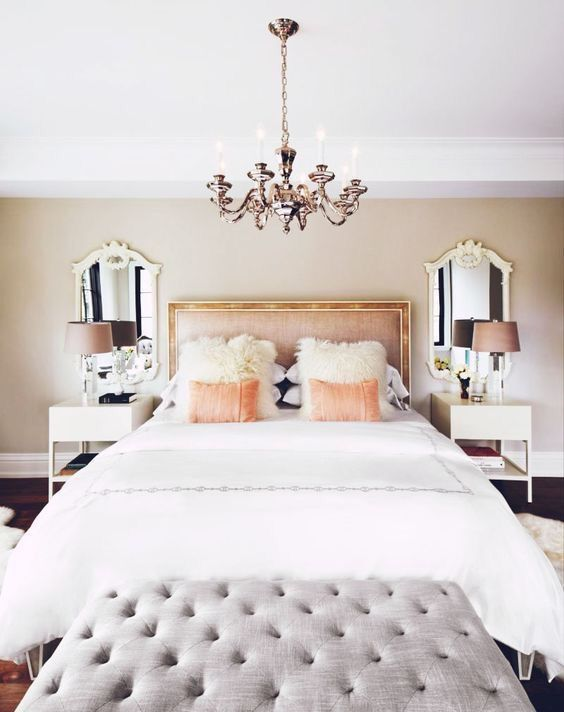 Bedroom in White and Rose Gold  Bold Bedrooms  Pinterest  Side tables Tables and Gold frames