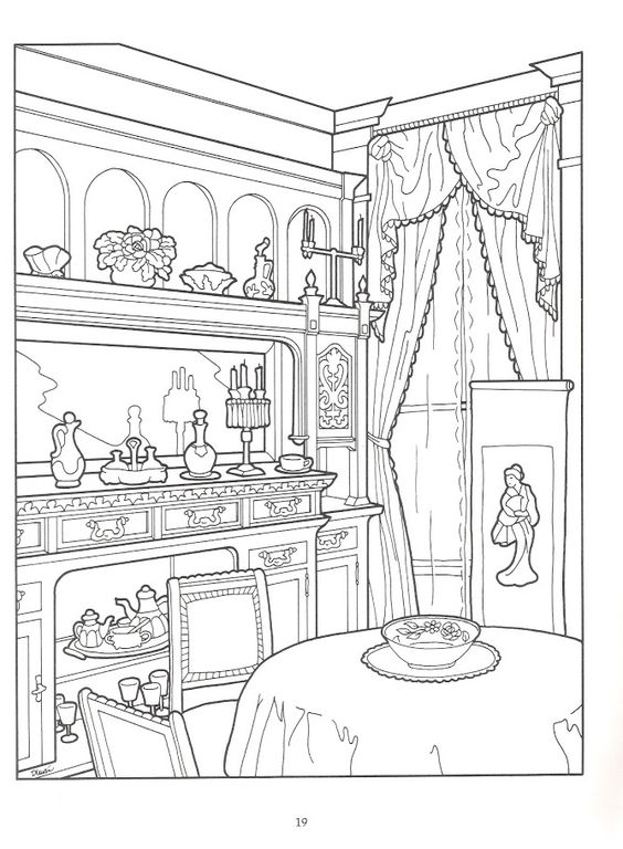 The Victorian House Coloring Book, Dover Publications