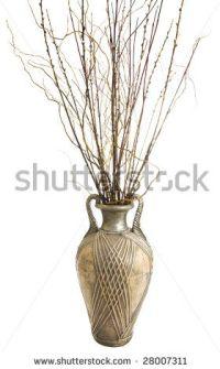 Large Antique Floor Vase With Decorative Sticks ...