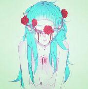 anime blood blue hair girl rose