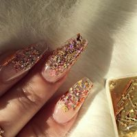 Clear glitter coffin acrylic nails. Bomb af!! | Nails In ...