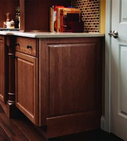 kitchen cabinets overstock custom molding and accent details - integrated base end panel ...