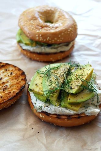 toasted bagel with dill cream cheese and avocado // best avocado toast recipes: