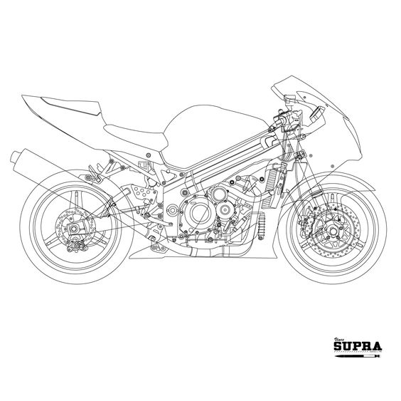 Suzuki GSXR 1000 2003-2004 Line Art. Work in Progress