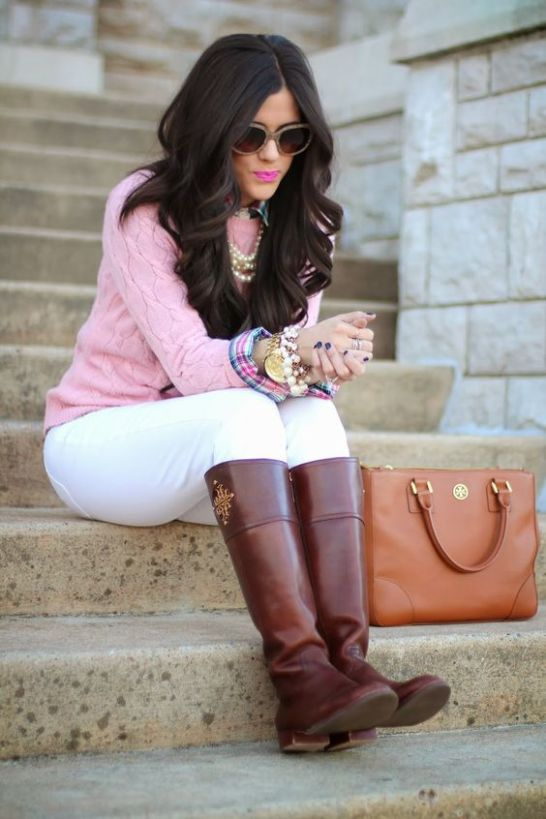 Riding boots are perfect for a preppy outfit!