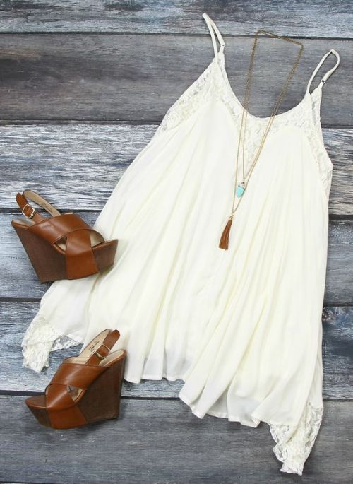 Personal Fashion Bohemian Style White Blouse with Pendant Necklace and Brown Wedges