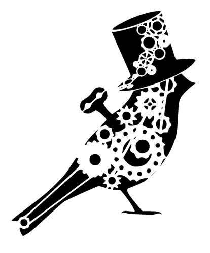 steampunk cogs bird in top hat
