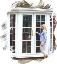 replace bay window with french doors
