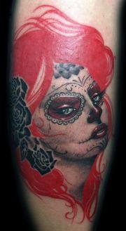 red head - sugar skull girl #tattoo