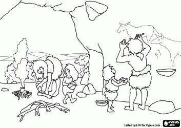 A prehistoric family in the cave. The woman prepares the