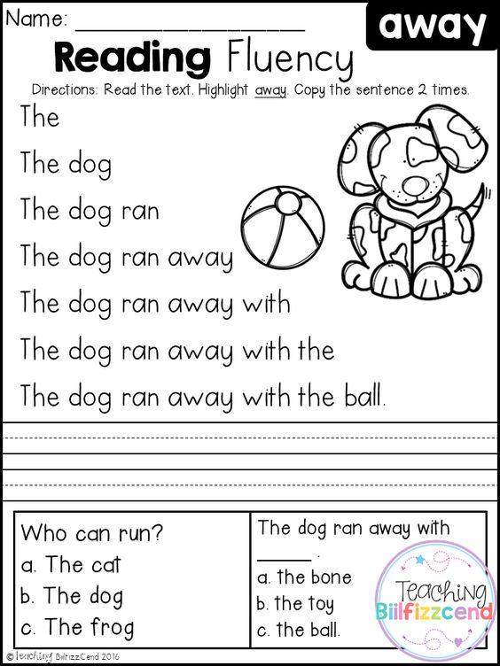 Free Kindergarten Reading Fluency And Comprehension Set 1  Language Arts  Pinterest  Reading