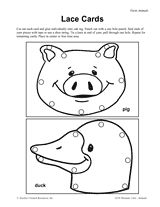 Lacing cards, Farm animals and Animals on Pinterest