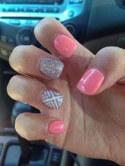 plain acrylic nail design - http
