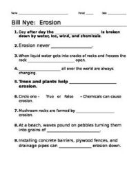 Science Worksheets On Weathering And Erosion - bill nye ...