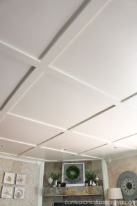 Faux-Coffered-Ceiling-to hide popcorn ceiling | Interiors ...