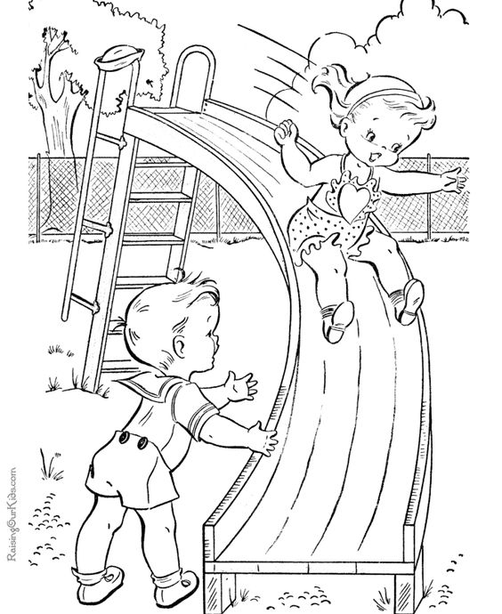 Playgrounds, Coloring pages and Kids coloring pages on