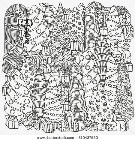 Pattern for coloring book of Christmas trees and gifts handdrawn decorative elements in vector