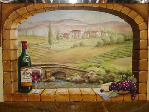 Brick Window Overlooking Vineyard Mural On Kitchen