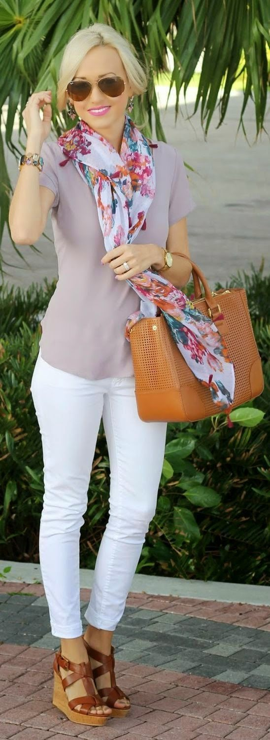love the scarf (colors/print), paired with the light colored top, and the accessories! Don't know if I could rock the white pant though ...: