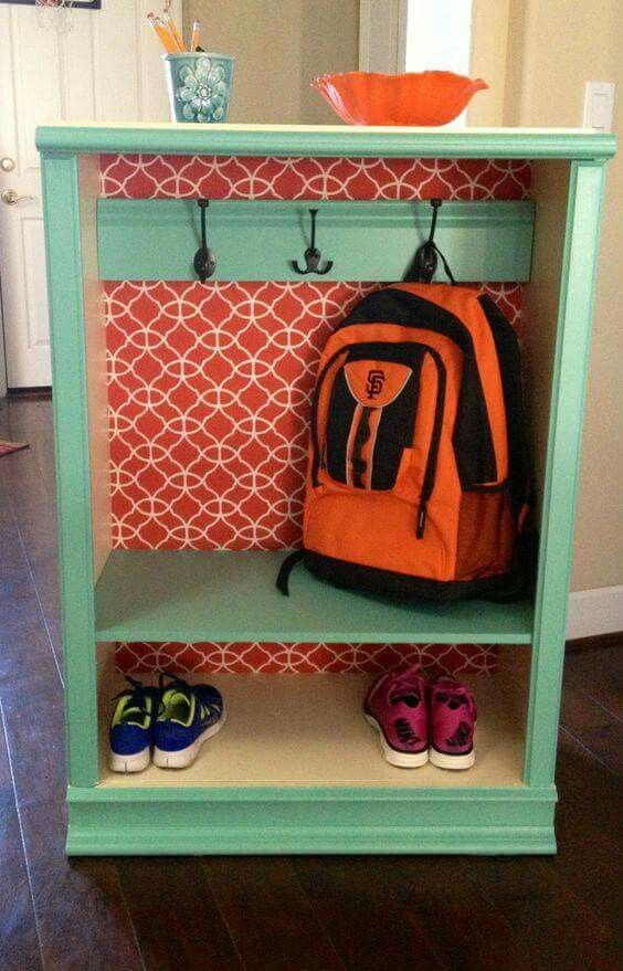 Dresser Turned Into Foyer Storage For Kids Bookbags And