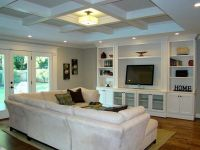 Perfect living room layout for our house. Small coffered ...