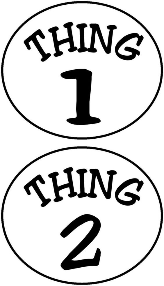 Details about Thing 1 and Thing 2 Circles Iron on Transfer