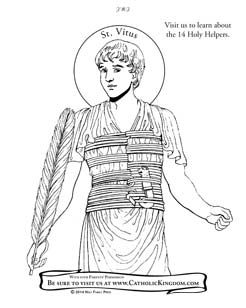 Saint Vitus coloring page. Catholic feast day is June 15