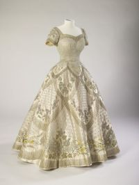 Dress and robes designed by Norman Hartnell for the ...
