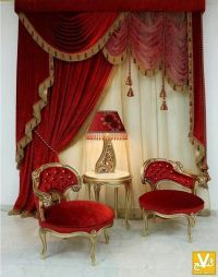 Old World romantic Parlor with elaborate drapery ...