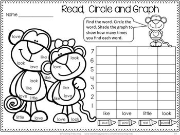 FREE Valentine's Day Monkeys! Cute sight word graphing