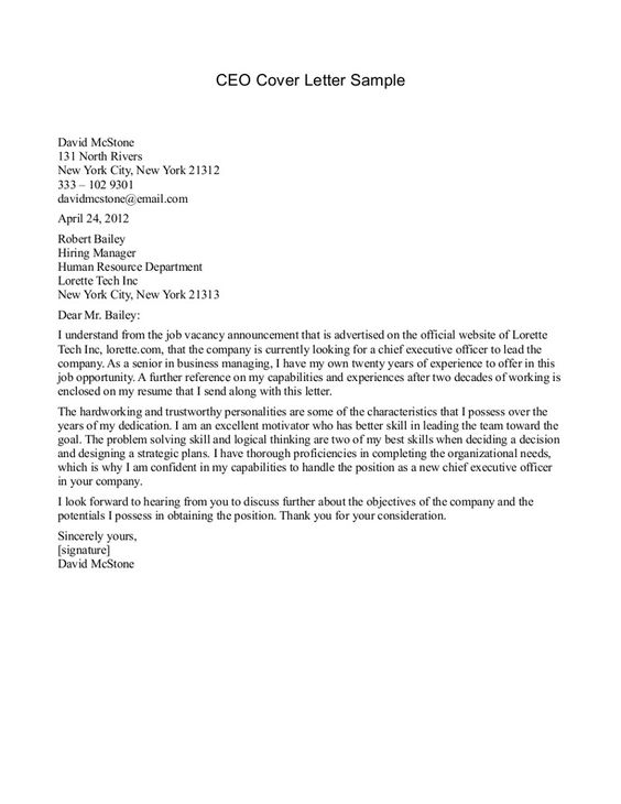 CEO Cover Letter Sample  CEO Cover Letter Sample