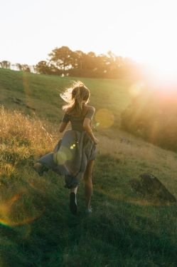Chasing the sun - running barefoot on the meadow, wild and free. Feeling that summer breeze on my skin. Breathing in every moment and wishing that this feeling lasts forever.: