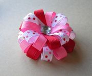 valentine hair bow - red and pink