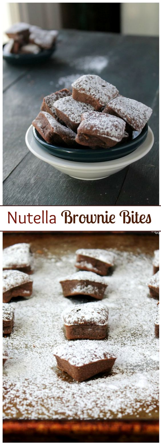 Nutella Brownie Bites Recipe via Diethood - Bite-size Brownies made with Nutella! The BEST Bite Size Dessert Recipes - Mini, Individual, Yummy Treats, Perfectly Pretty for Your Baby and Bridal Showers, Birthday Party Dessert Tables and Holiday Celebrations!