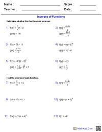 Inverse Functions and Logarithms Worksheets | Math-Aids ...