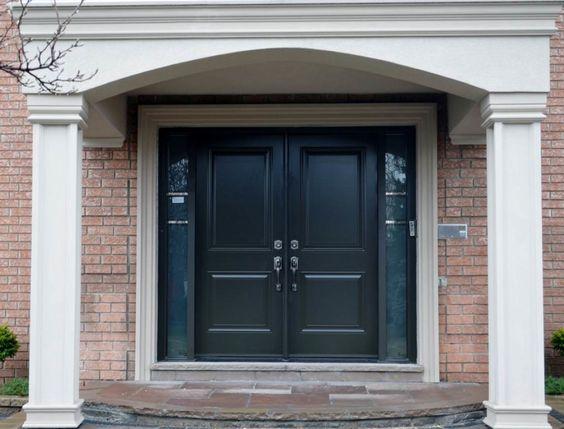 Elegant Black Wood Panel Masonite Exterior Entry Doors