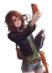 brown hair anime girl glasses phone