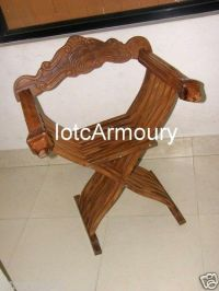 Hand Carved Medieval Wooden Chair Nautical Folding Wood