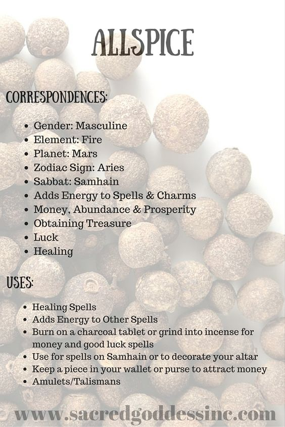 the magick of herbs  allspice  printable for your bos